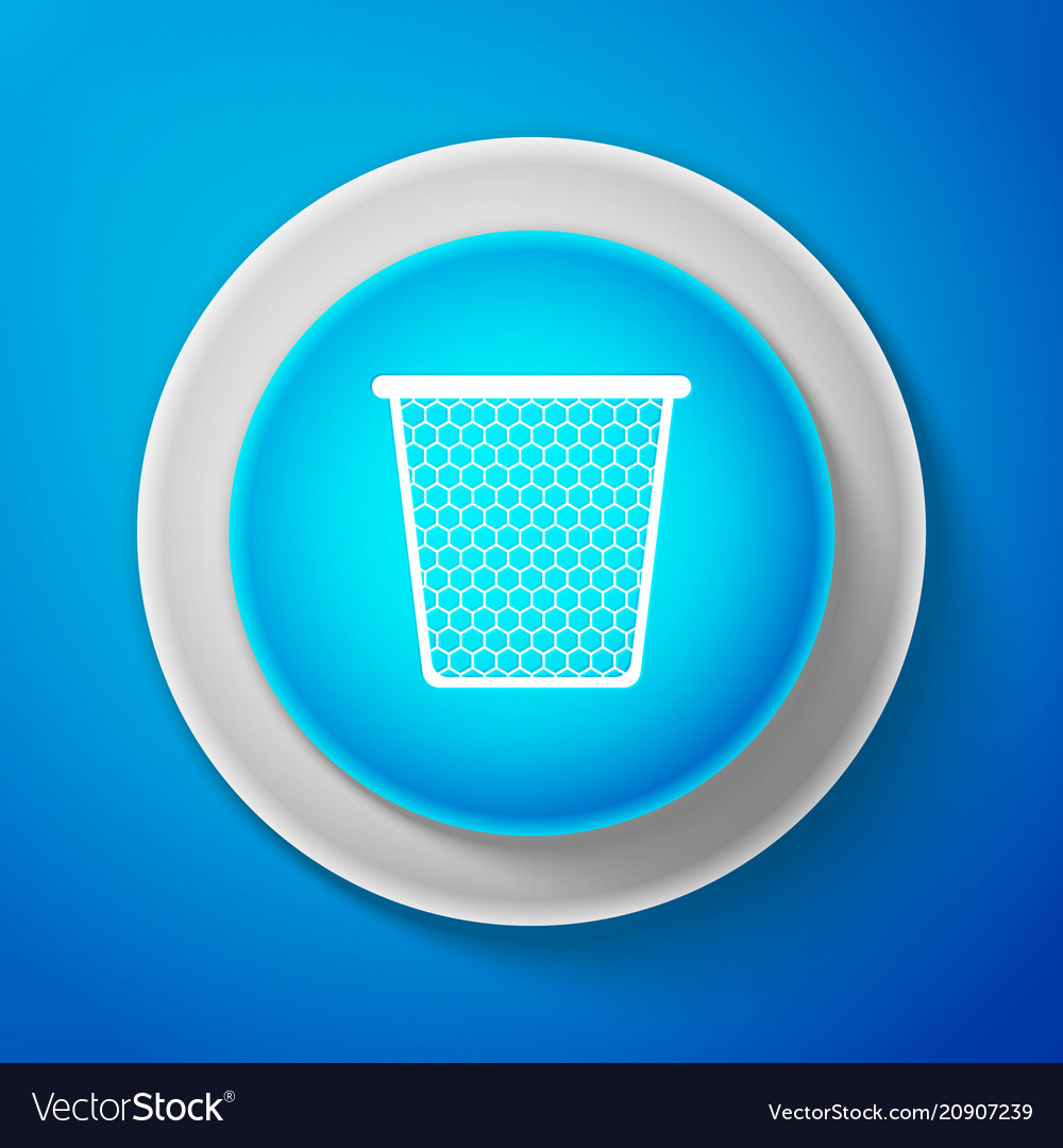 White trash can icon isolated on blue background