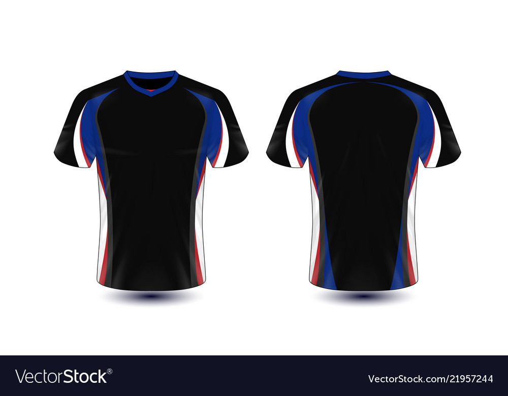 947d33d9b Black blue white and red layout e-sport t-shirt Vector Image