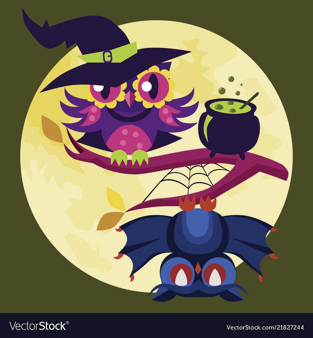 Colorful halloween owl flat poster