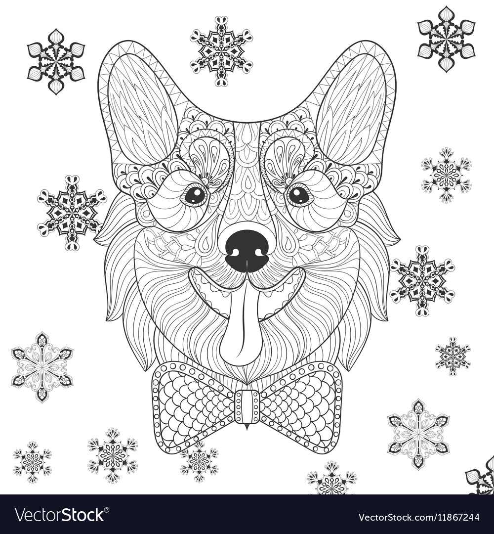 Corgi with bow tie in zentangle doodle style