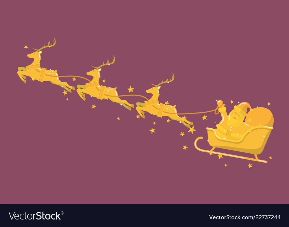Golden santa claus with reindeer sleigh