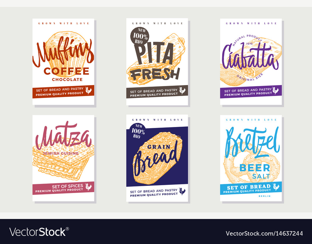 Hand drawn fresh bread posters vector image