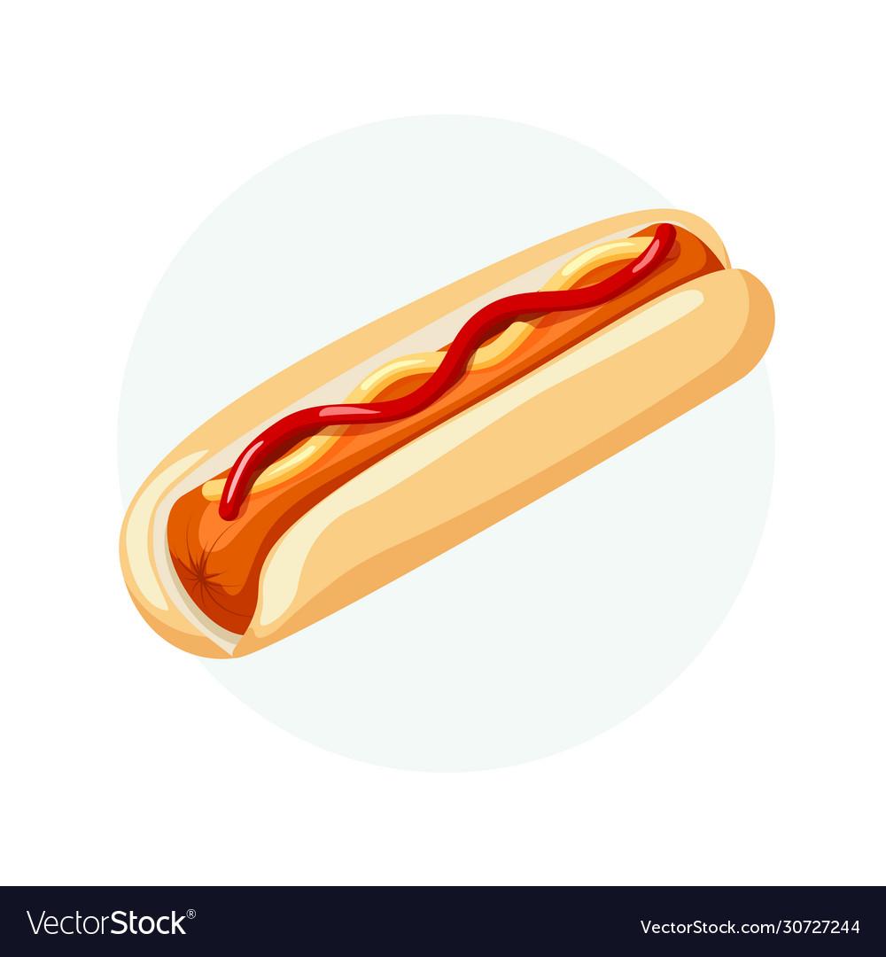 Hot dog with bread sausage ketchup and mustard