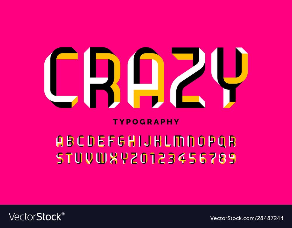 Impossible shape font design alphabet letters and