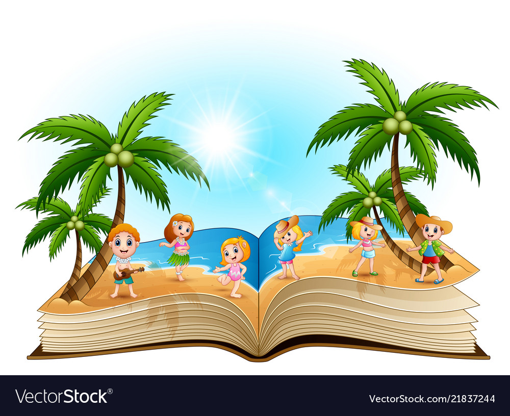 Open book with group of happy children on the beac