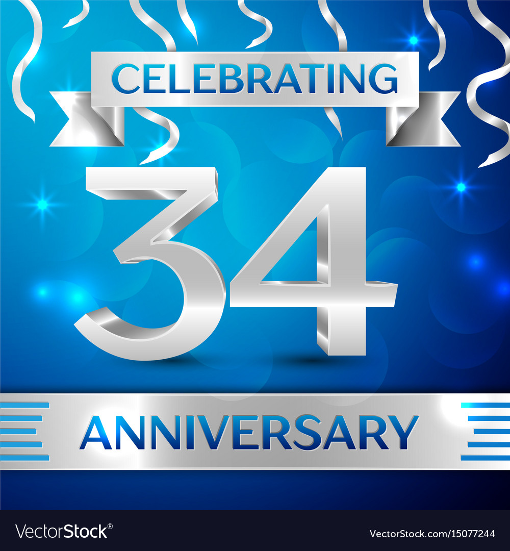 Thirty four years anniversary celebration design