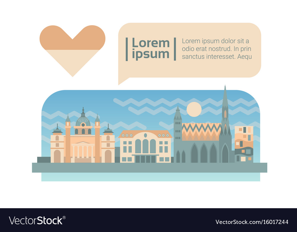 Vienna street city panorama facade skyline cartoon vector image