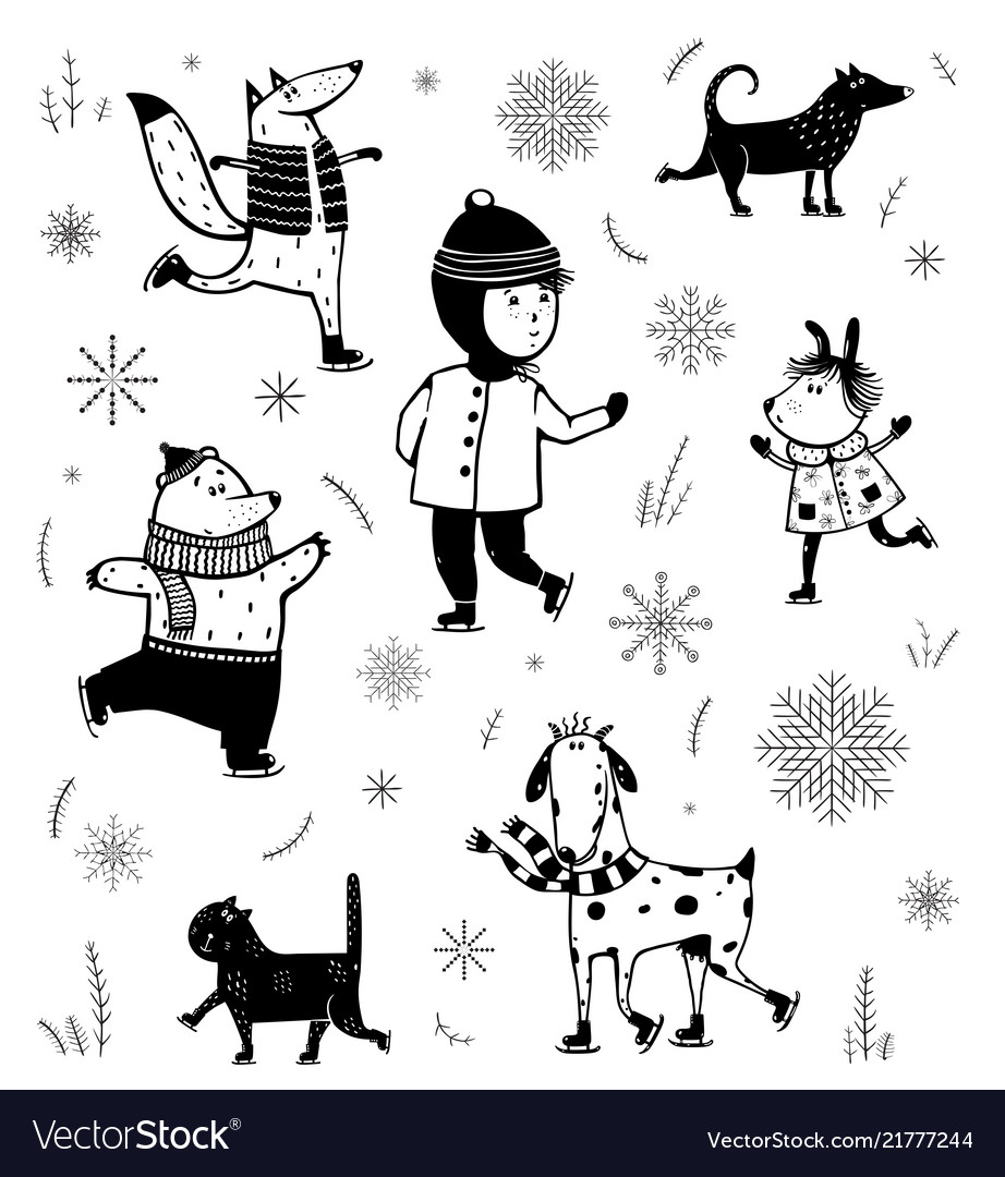 Winter skiing vintage cartoon set black and white