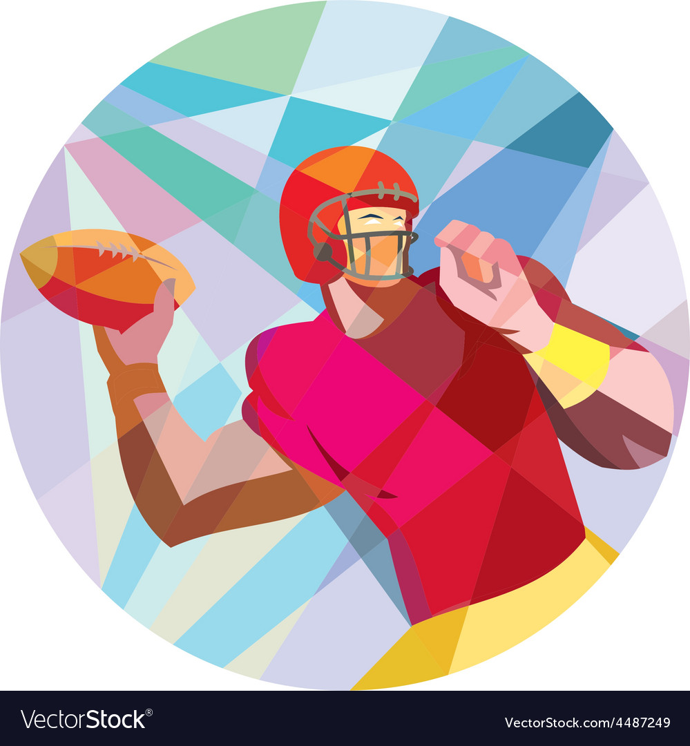 American Football Quarterback QB Low Polygon vector image