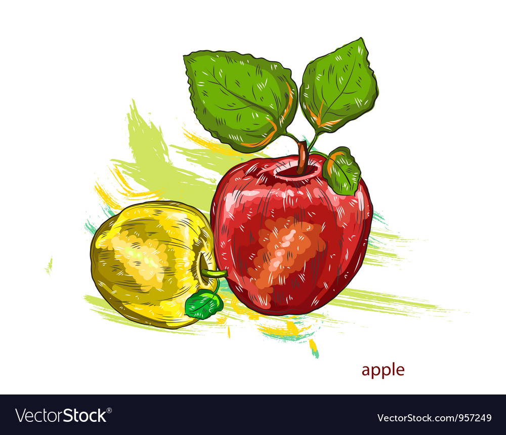 Apples with colorful splashes