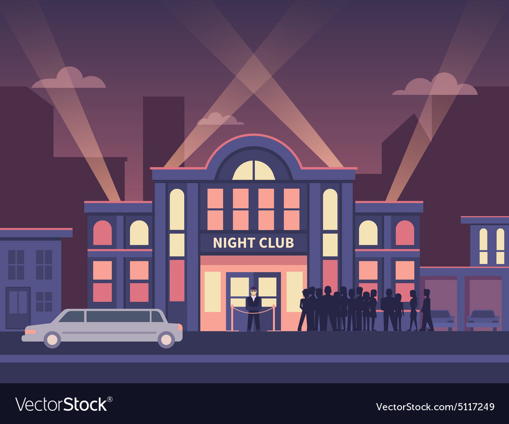 Building Night Club with Queue at the Entrance vector image