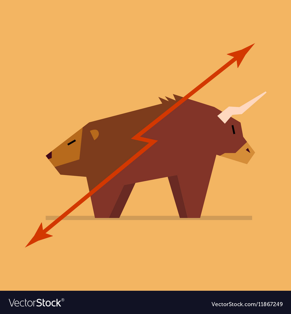 Bull And Bear Symbol Of Stock Market Royalty Free Vector