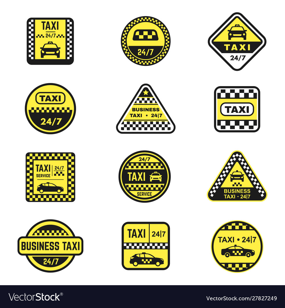 Checkered taxi signs flat icons set