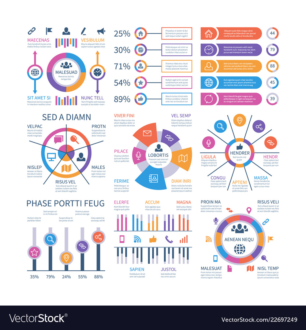 Financial infographic business bar graph and flow
