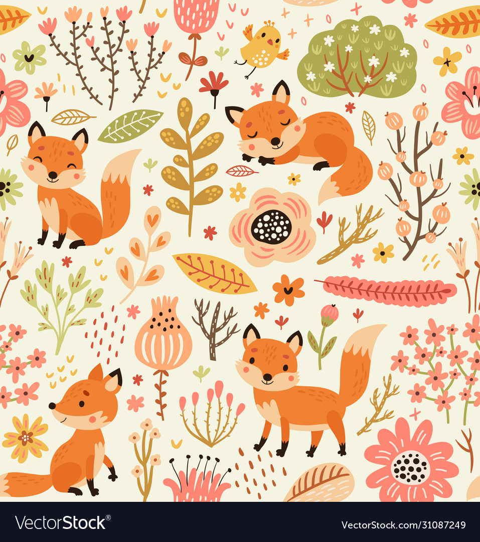 Forest seamless pattern with foxes and flowers