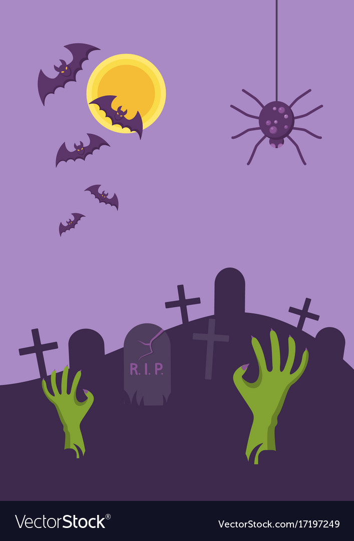 Halloween banner tomb stone zombie hand from