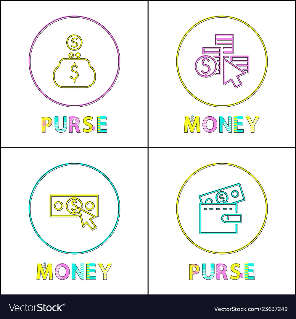 Purses with money icons isolated on white backdrop