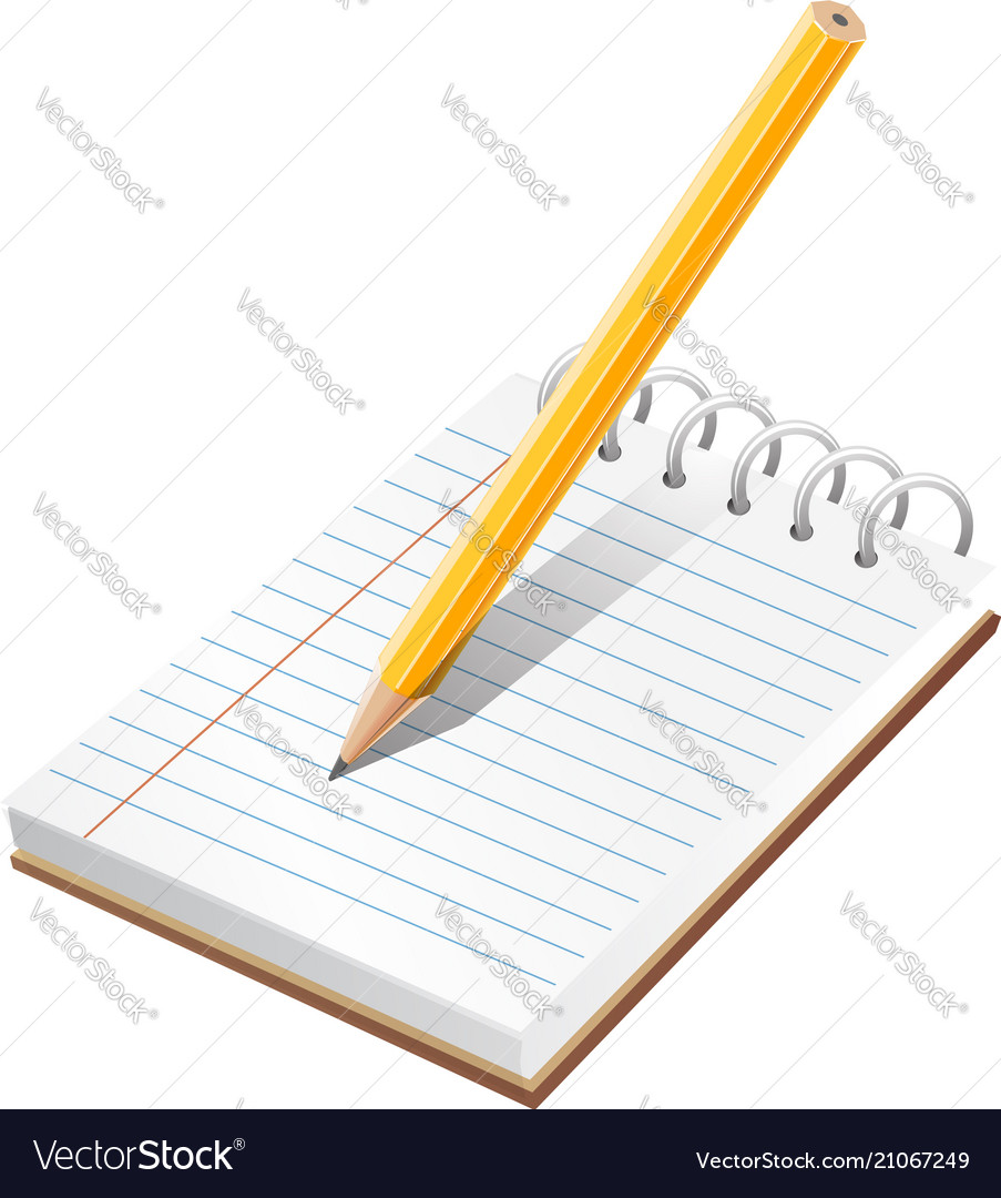 Realistic blank spiral notes and pencil symbol