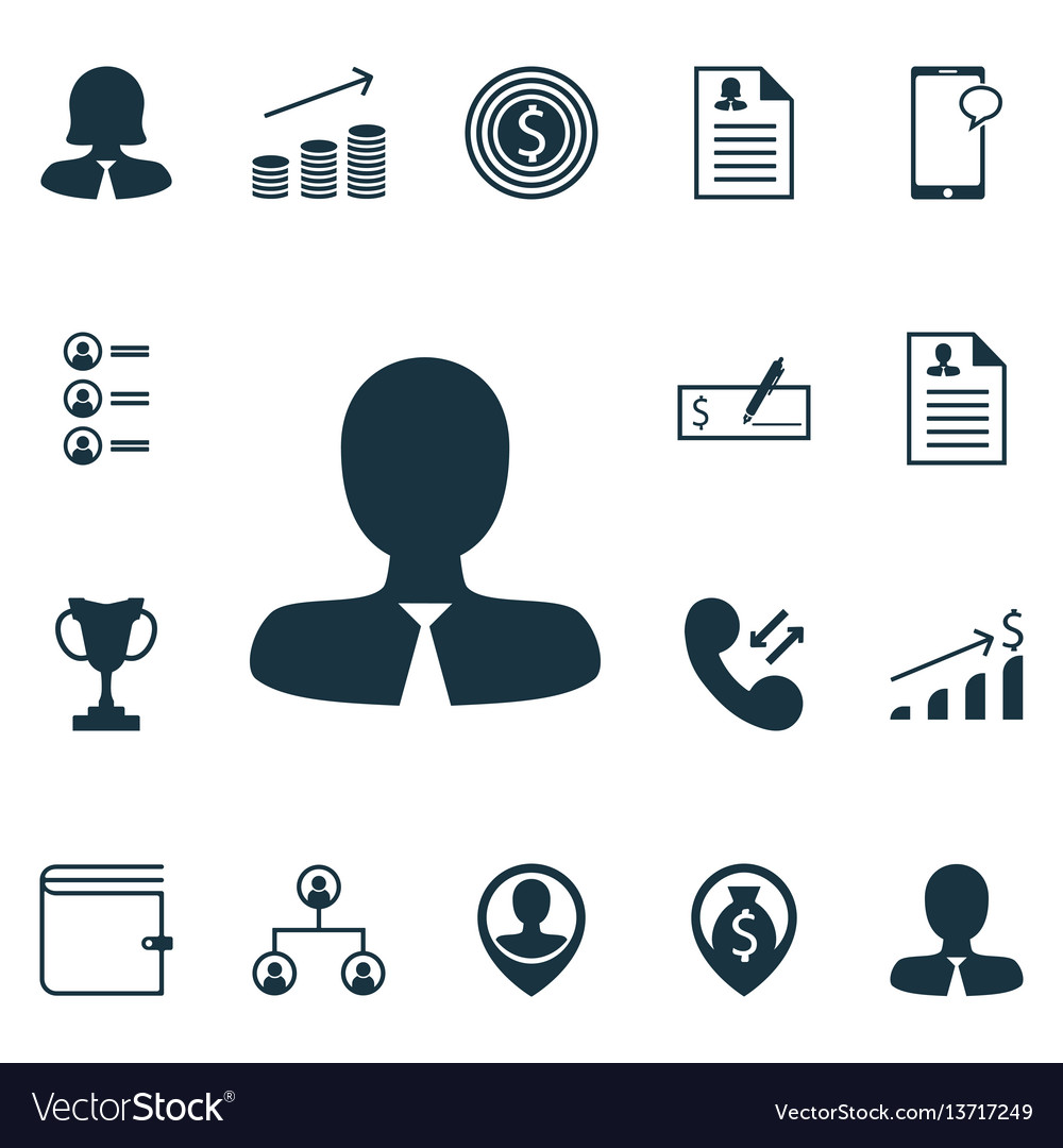 Set of 16 management icons includes messaging vector image