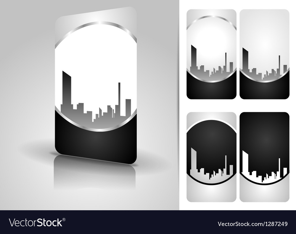 Silver business card set vector image