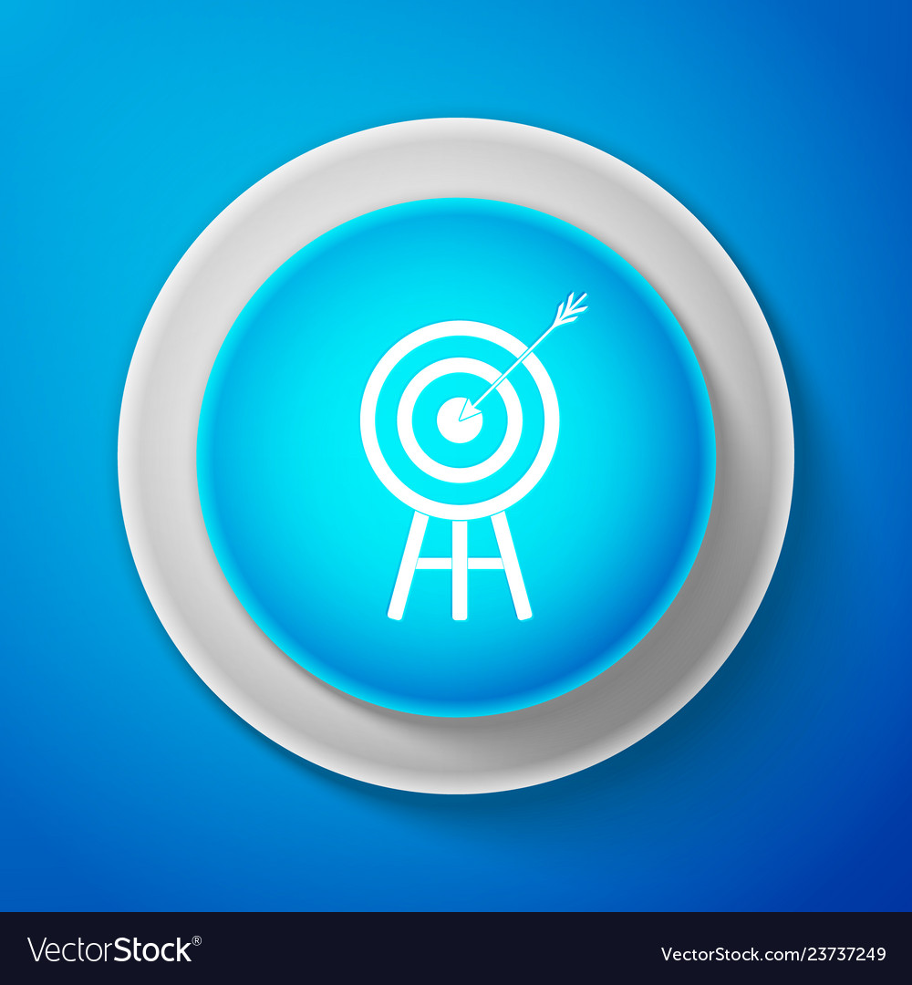 Target with arrow icon isolated on blue background