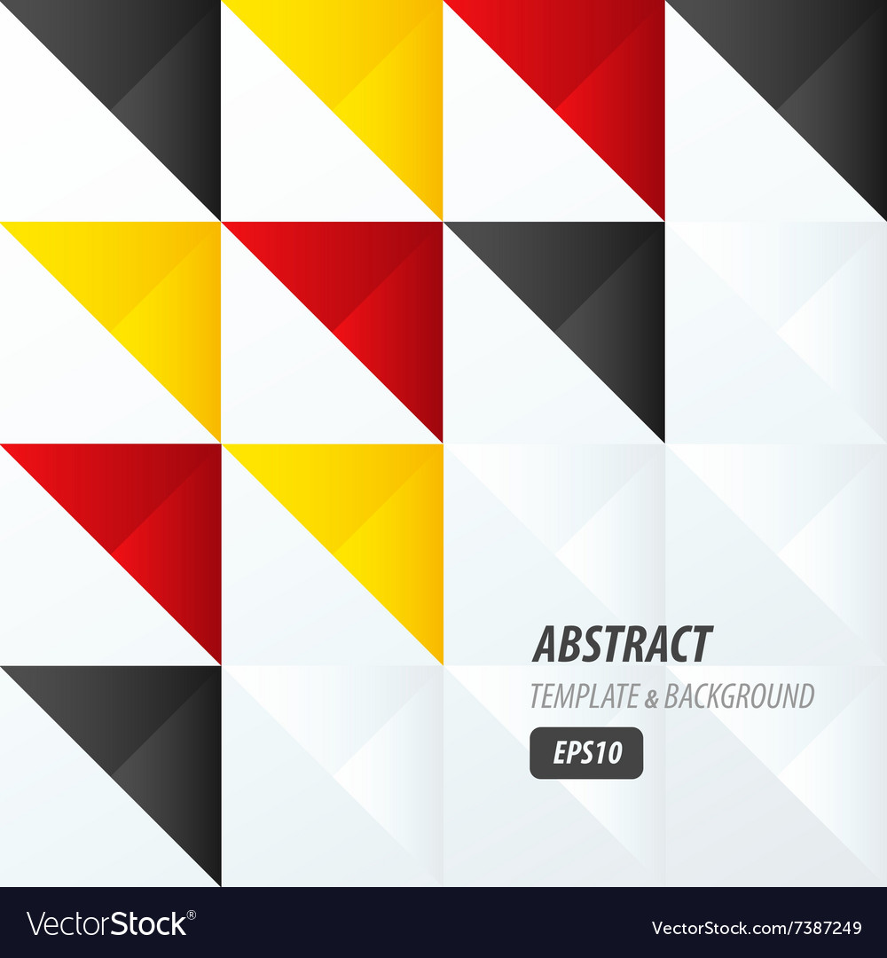 Triangle pattern design yellow black red vector image