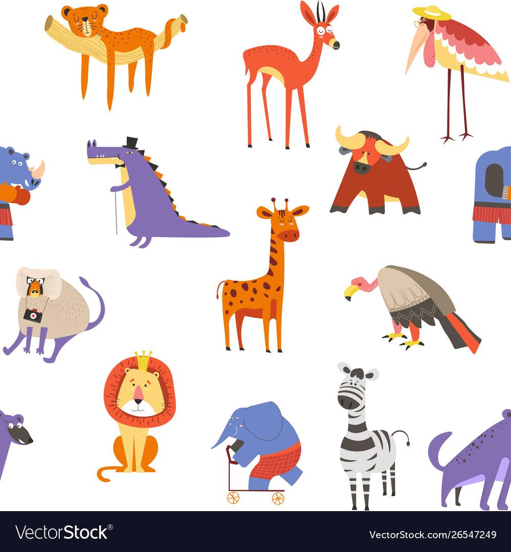 Wild african animals and birds seamless pattern