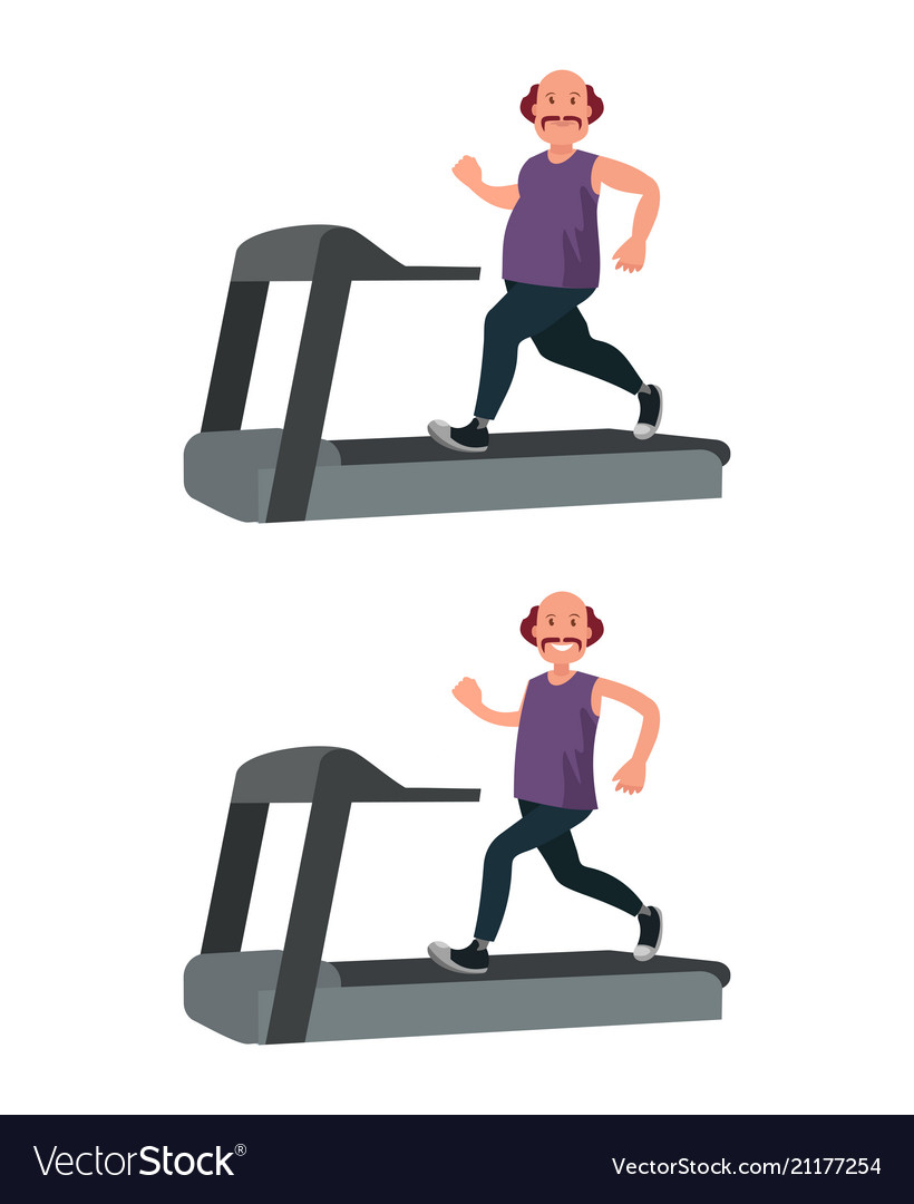 A fat man runs on a treadmill and loses weight