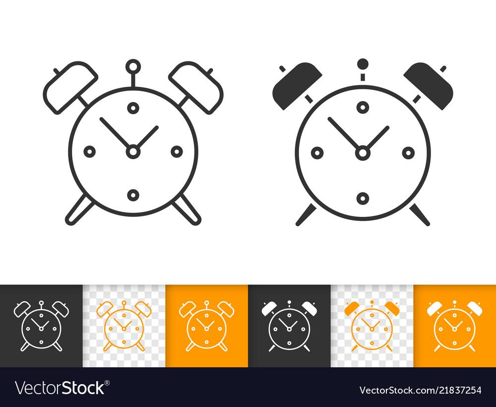 Alarm clock simple black line icon