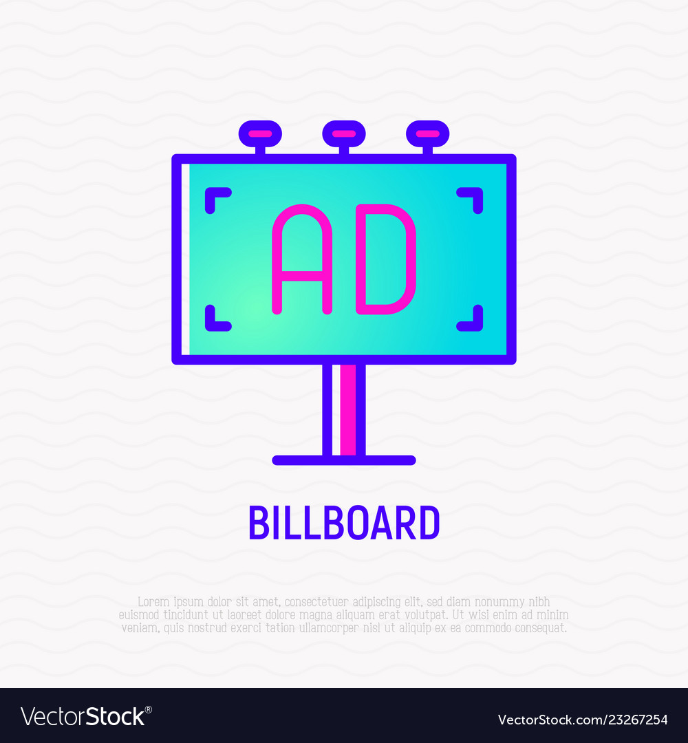 Billboard thin line icon outdoor advertising