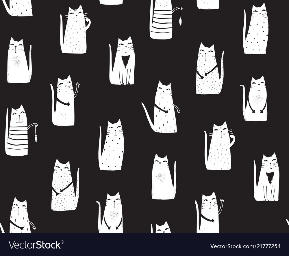 Cats on black background