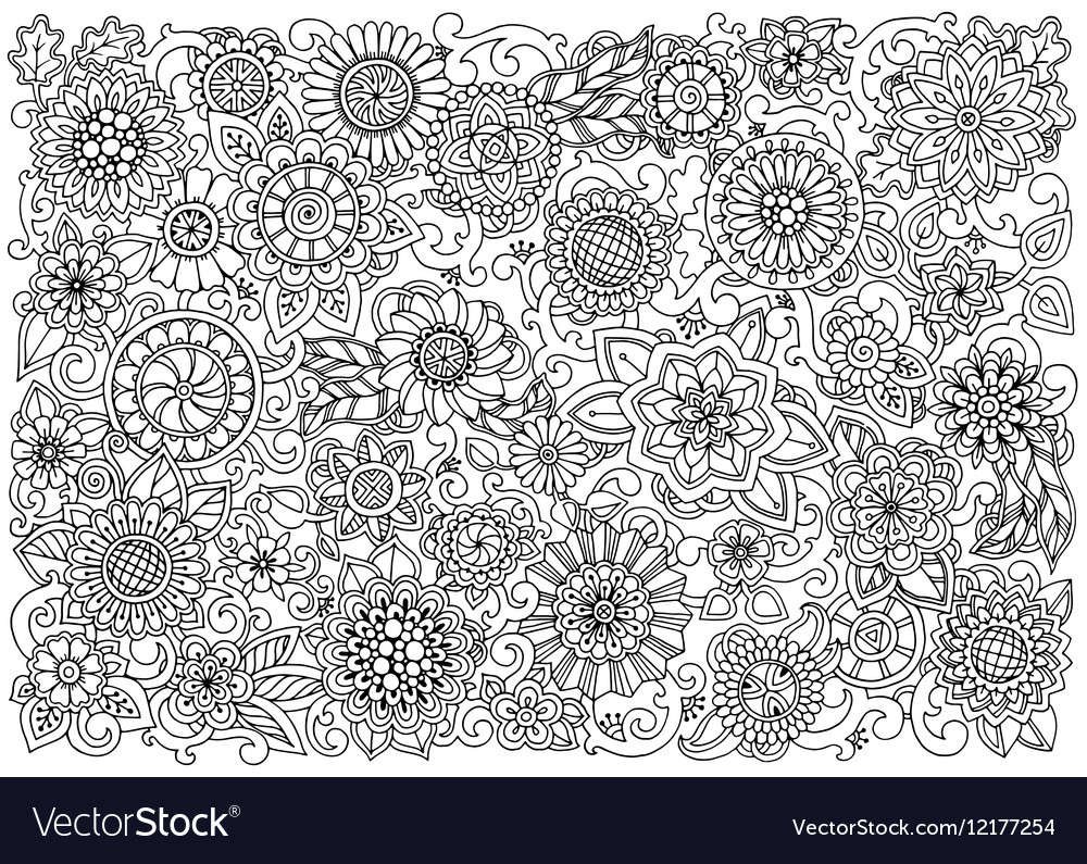 Ethnic floral zentangle doodle background pattern
