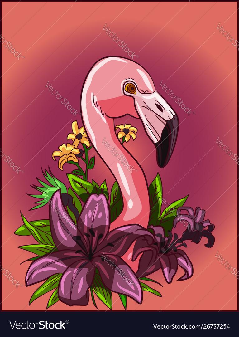 Flamingo in a flowers garden design living coral