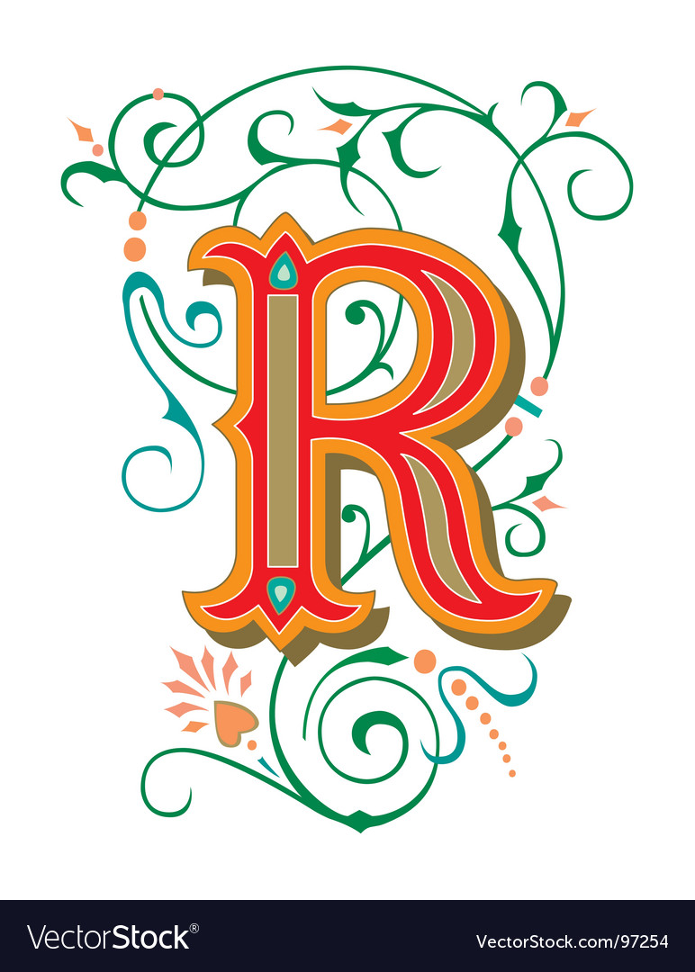 letter r graffiti style. Floral Letter R Vector
