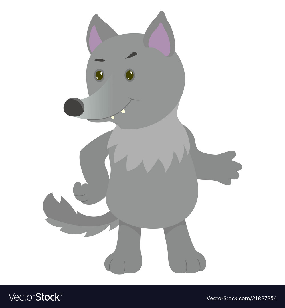 Hand drawn wolf natural colors