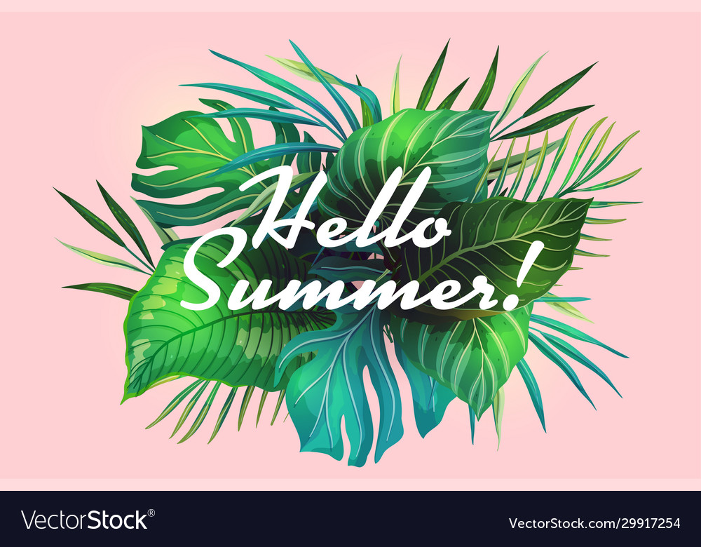 Hello summer tropical banner