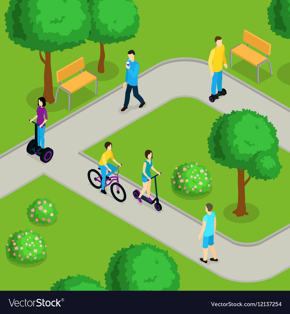 Isometric People Ride Composition