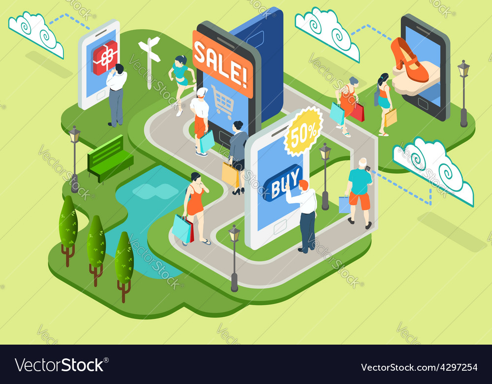 Isometric Virtual Shopping Concept vector image