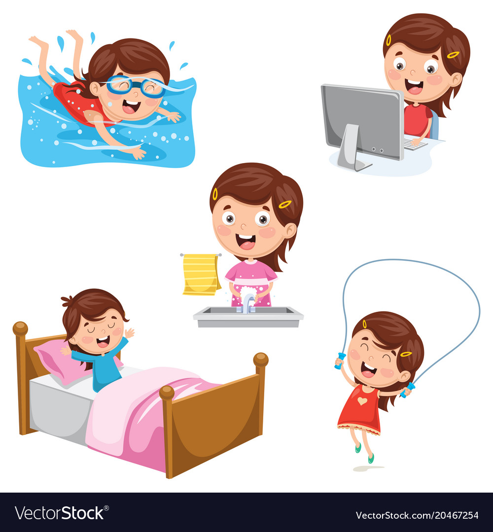 Kids daily routine vector image