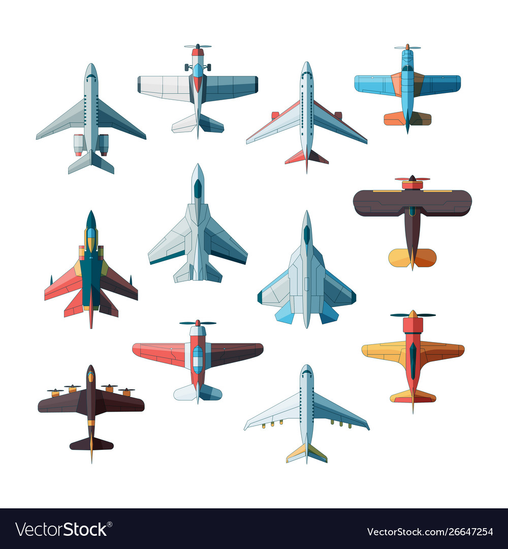 Planes top view jet military aircraft flat