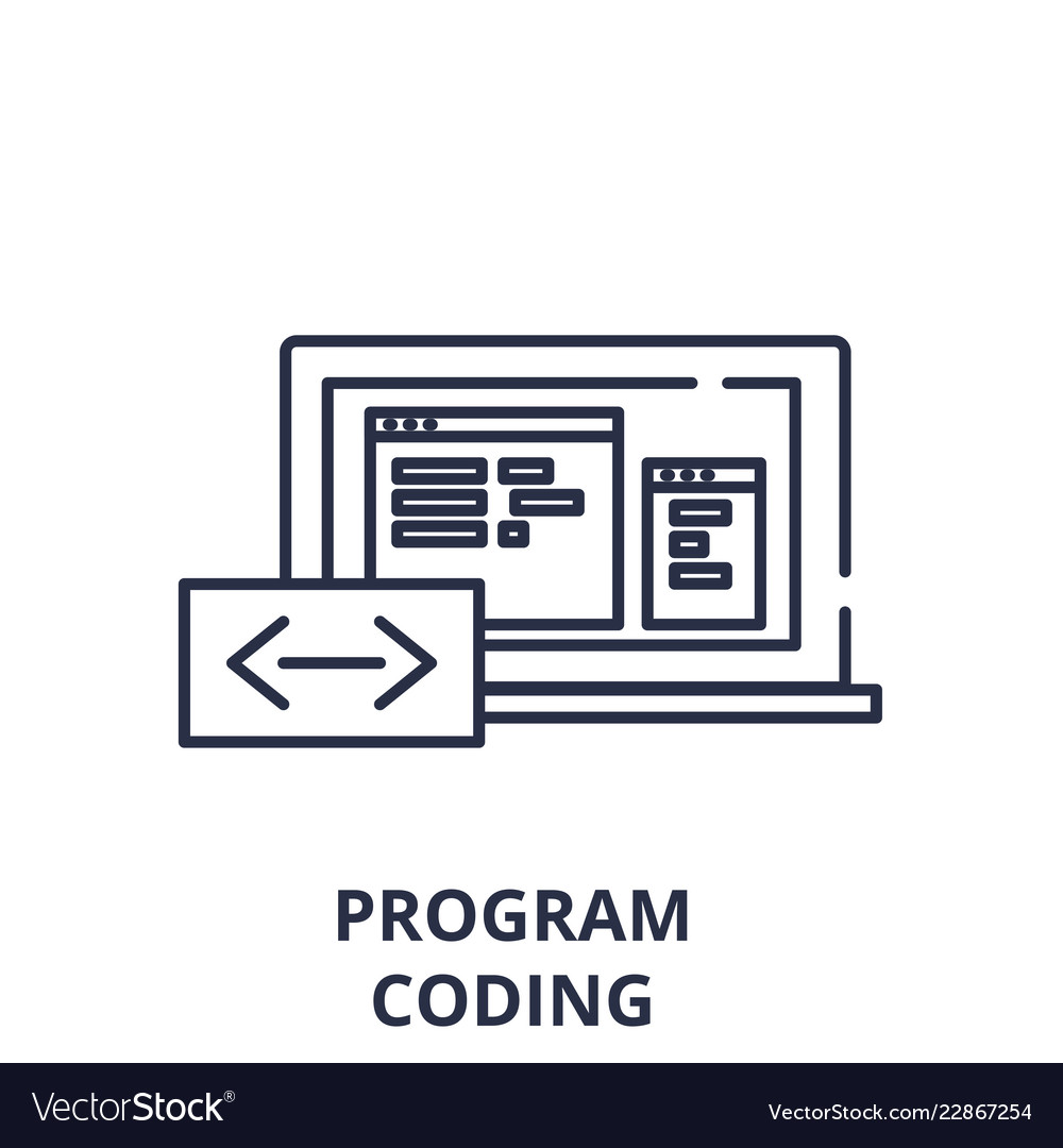 Program coding line icon concept program coding