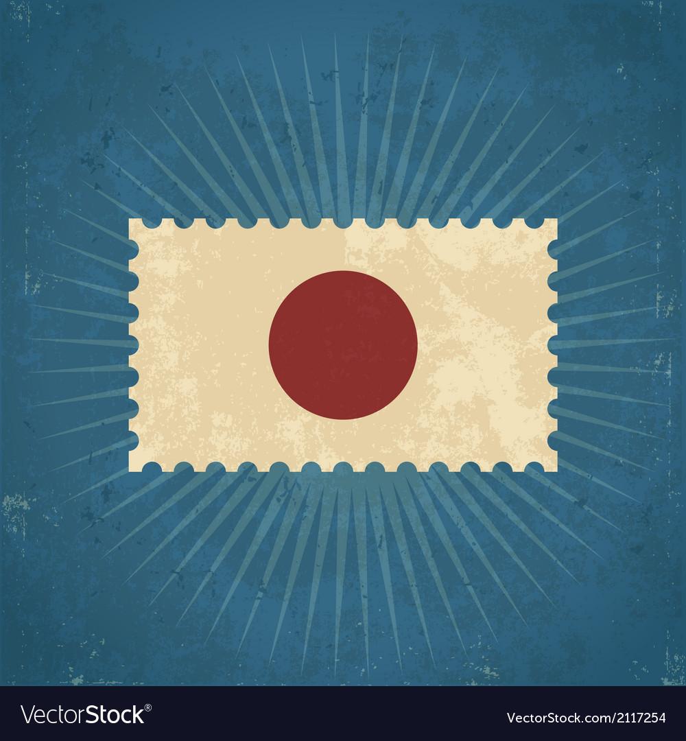 Retro Japan Flag Postage Stamp