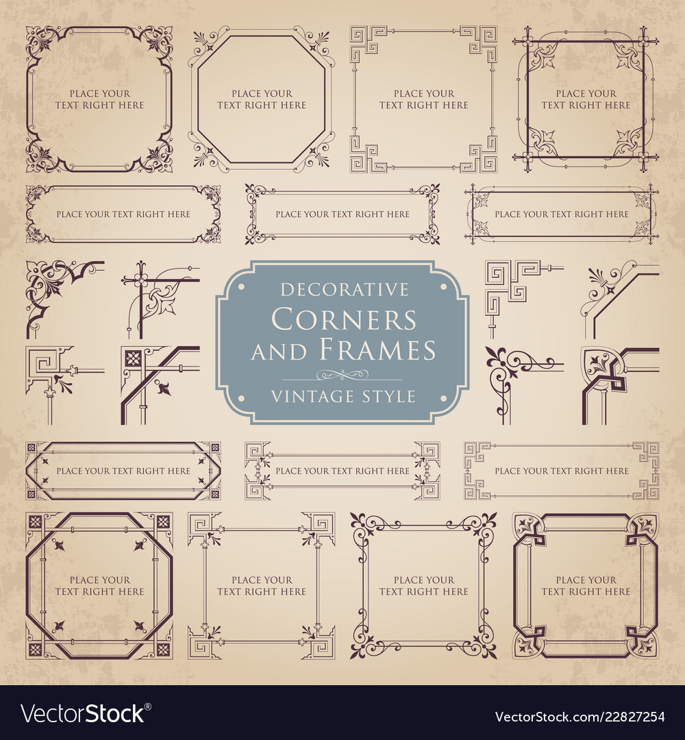 Set Of Decorative Corners And Frames Royalty Free Vector