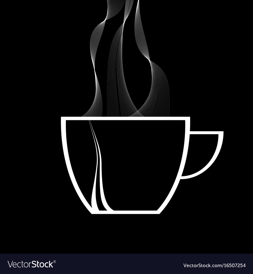 steamy coffee cup white silhouette on black vector image