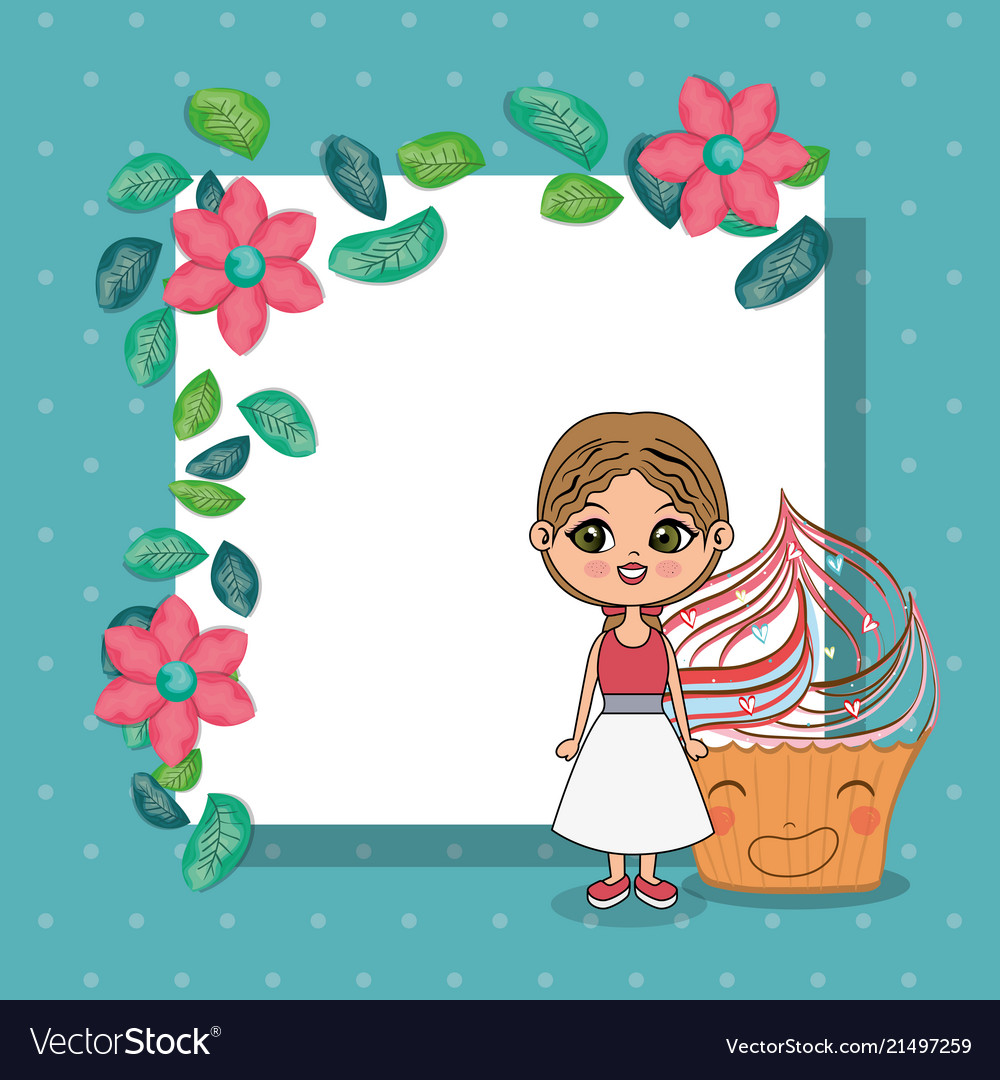 Beautiful girl with cupcake kawaii characters