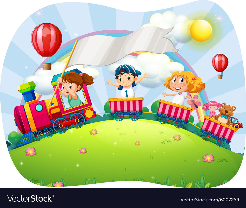 Children riding on train at daytime vector image