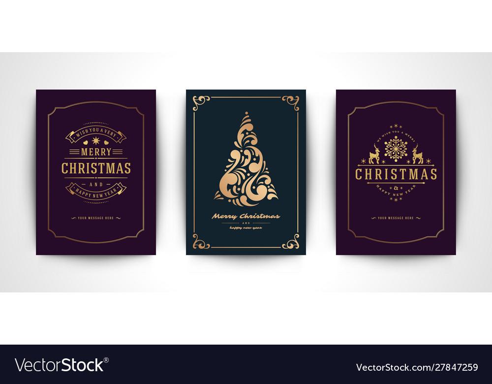 Christmas greeting cards set and ornate