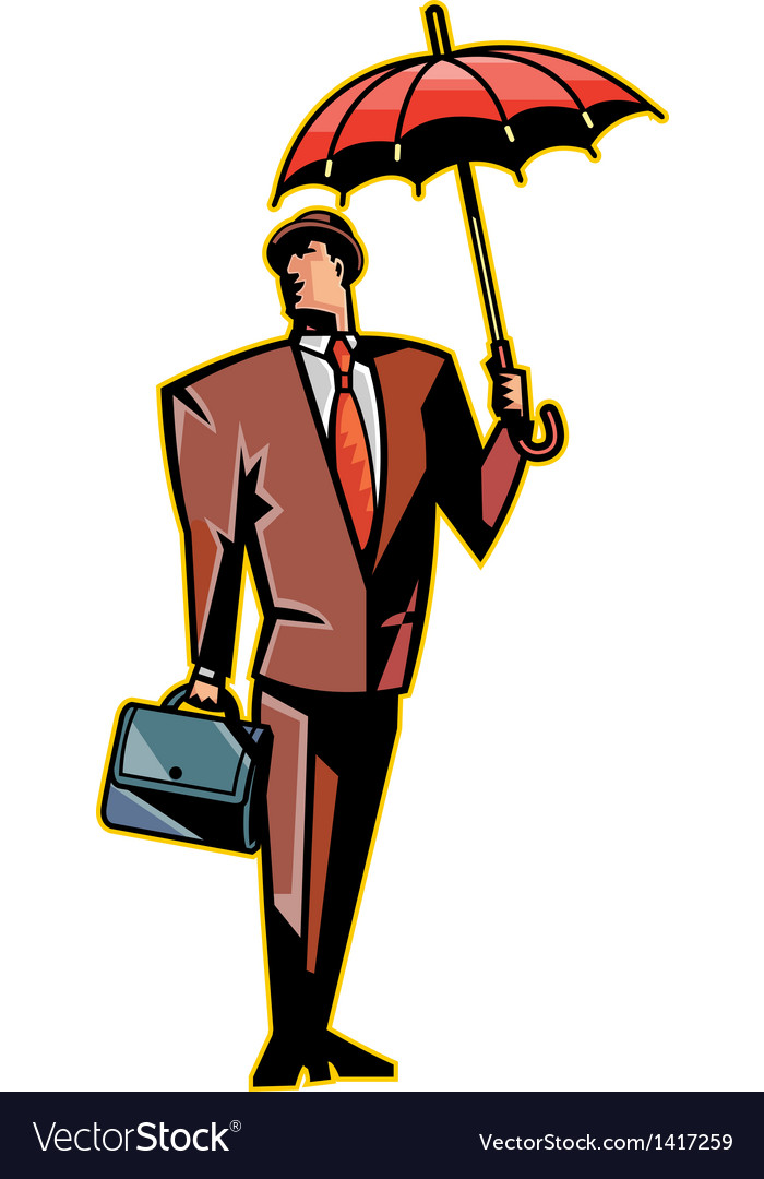 close up of man holding umbrella royalty free vector image