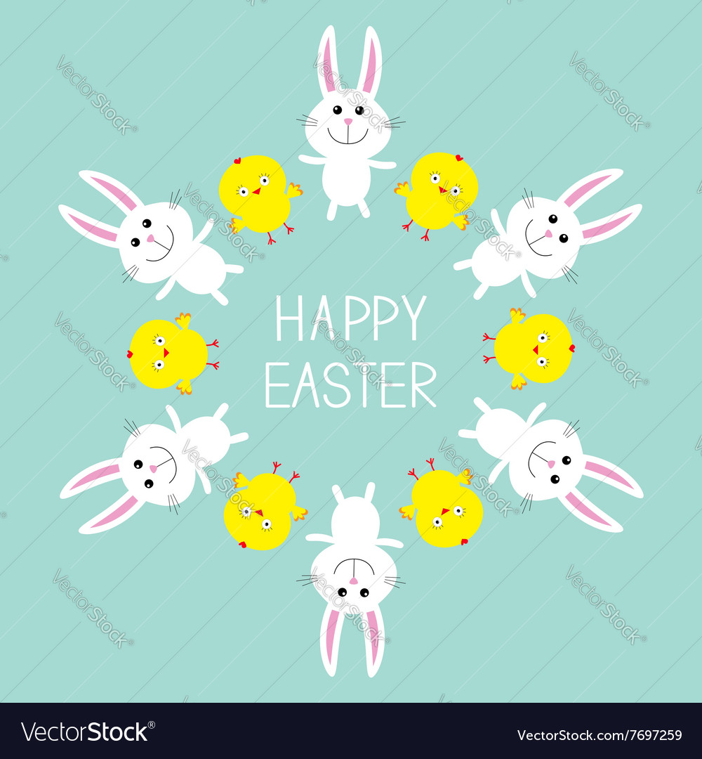 Cute bunny rabbit and chicken frame happy easter