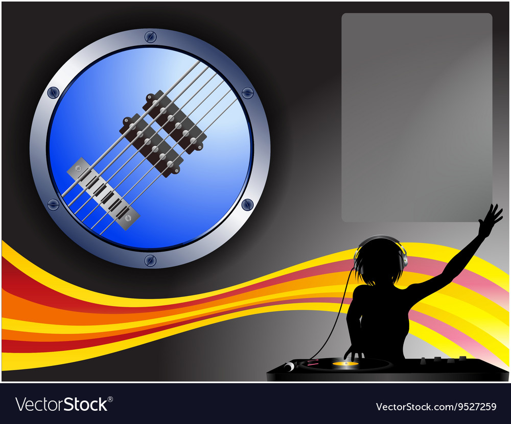 Guitar border DJ and copy space background